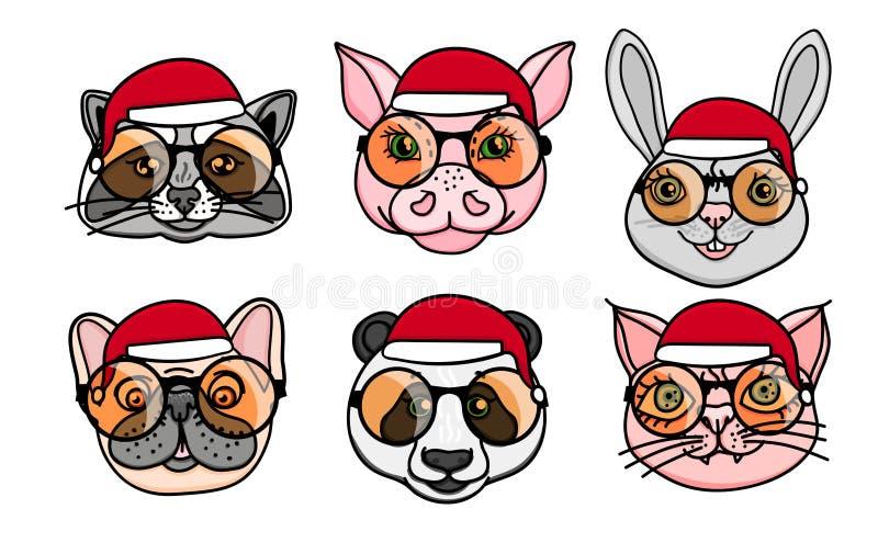Χριστούγεννα εύθυμα Καθορισμένο ζωικό επικεφαλής σκυλί, ρακούν, χοίρος, panda, γάτα με το καπέλο santa Διανυσματική συρμένη χέρι  απεικόνιση αποθεμάτων