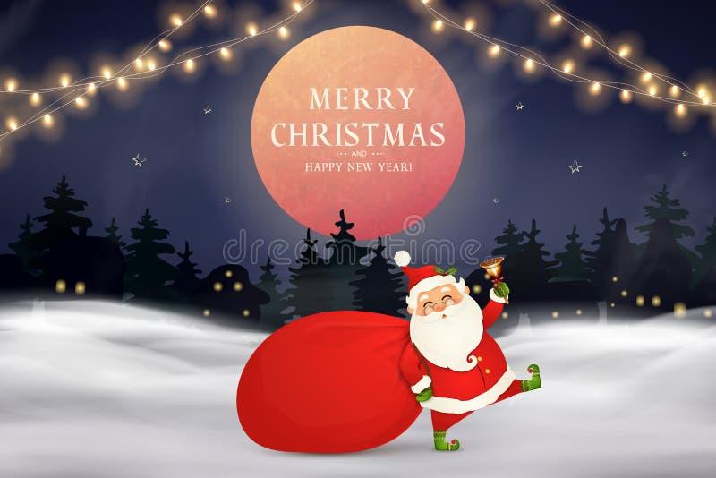 Χριστούγεννα εύθυμα καλή χρονιά Χαριτωμένος Άγιος Βασίλης με την κόκκινη τσάντα με παρουσιάζει, κιβώτια δώρων, χριστουγεννιάτικο  διανυσματική απεικόνιση