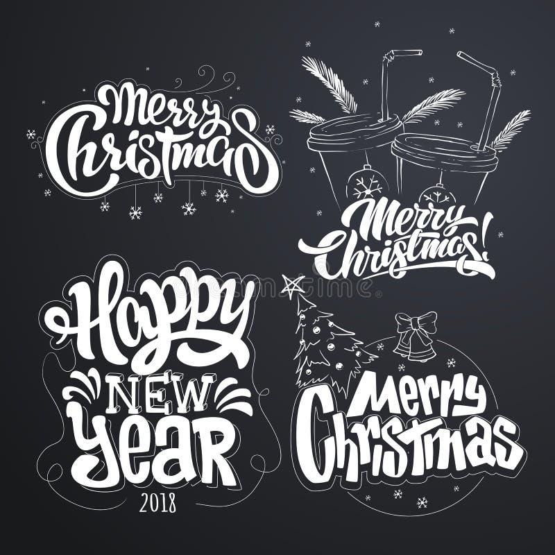 Χριστούγεννα εύθυμα καλή χρονιά Χειρόγραφη σύγχρονη εγγραφή βουρτσών, σύνολο τυπογραφίας απεικόνιση αποθεμάτων