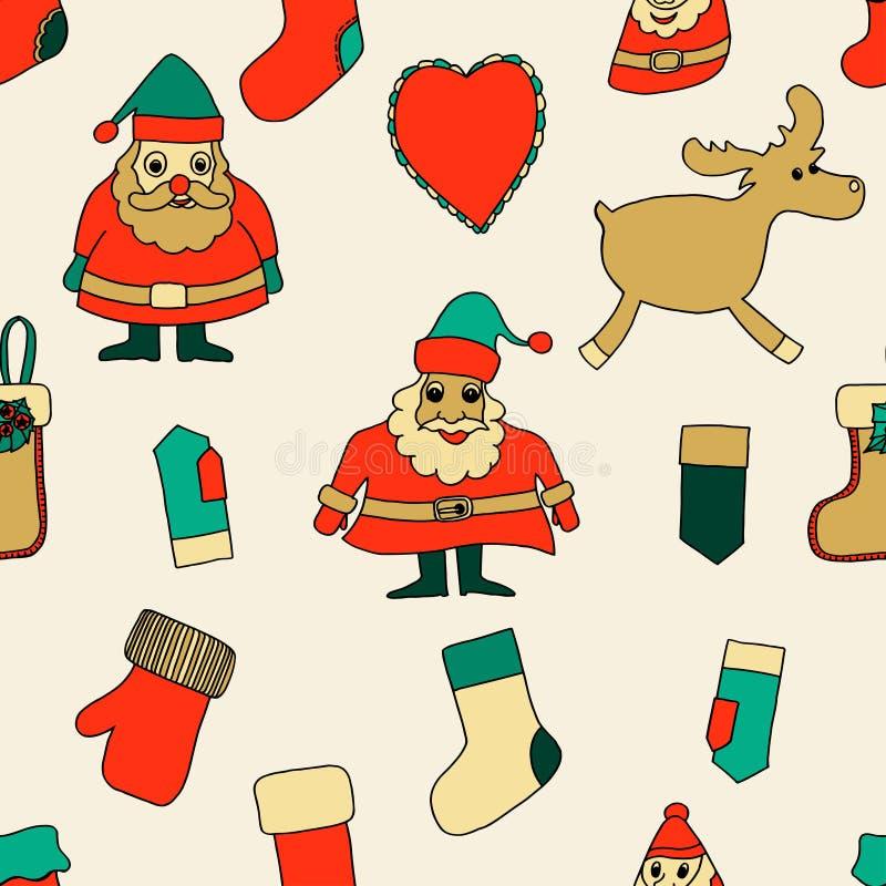 Χριστούγεννα εύθυμα πρότυπο άνευ ραφής διανυσματική απεικόνιση