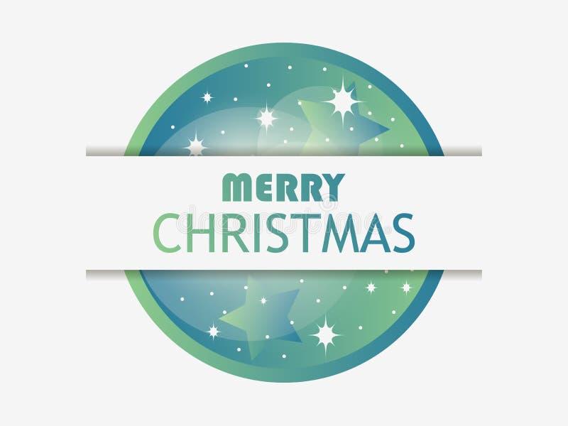 Χριστούγεννα εύθυμα Σφαίρα Χριστουγέννων με την πράσινη κλίση Στρώμα με τη σκιά Πρότυπο σχεδίου ευχετήριων καρτών διάνυσμα ελεύθερη απεικόνιση δικαιώματος