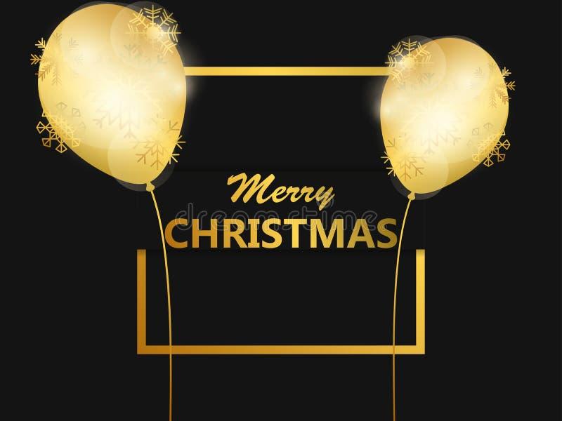 Χριστούγεννα εύθυμα Χρυσά μπαλόνια στο πλαίσιο Πρότυπο σχεδίου ευχετήριων καρτών με τη χρυσή κλίση διάνυσμα απεικόνιση αποθεμάτων