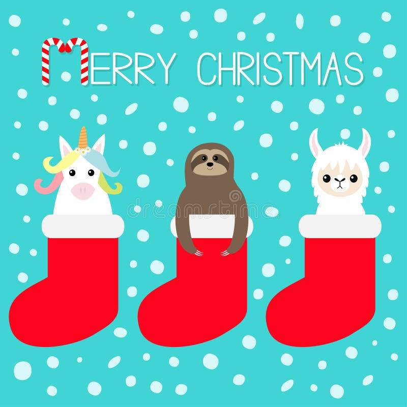 Χριστούγεννα εύθυμα Llama προβατοκάμηλος, νωθρότητα, μονόκερος στην κόκκινη κάλτσα Νιφάδα χιονιού Χαριτωμένος χαρακτήρας kawaii κ διανυσματική απεικόνιση