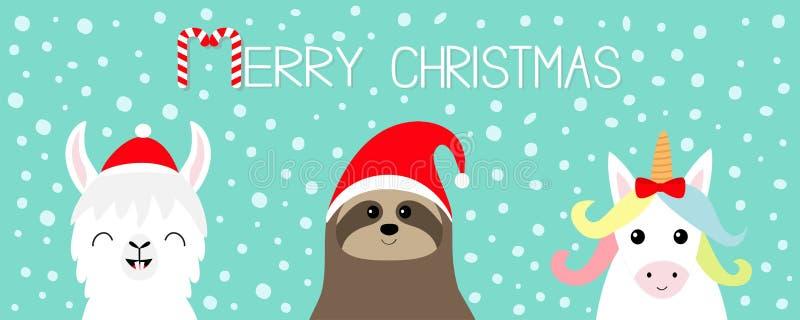 Χριστούγεννα εύθυμα Llama προβατοκάμηλος, σύνολο προσώπου νωθρότητας κόκκινο santa καπέλων Νιφάδα χιονιού καλή χρονιά Χαριτωμένος ελεύθερη απεικόνιση δικαιώματος