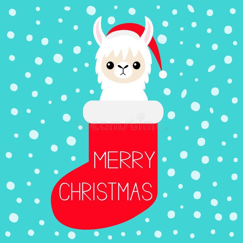 Χριστούγεννα εύθυμα Llama πρόσωπο μωρών προβατοκαμήλου στην κόκκινη κάλτσα Καπέλο Santa Νιφάδα χιονιού Χαριτωμένος χαρακτήρας kaw διανυσματική απεικόνιση