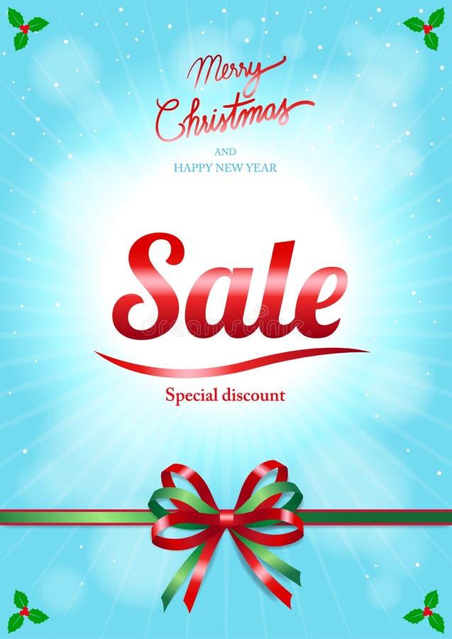 Χριστούγεννα και αφίσα ή έμβλημα πώλησης καλής χρονιάς διανυσματική απεικόνιση