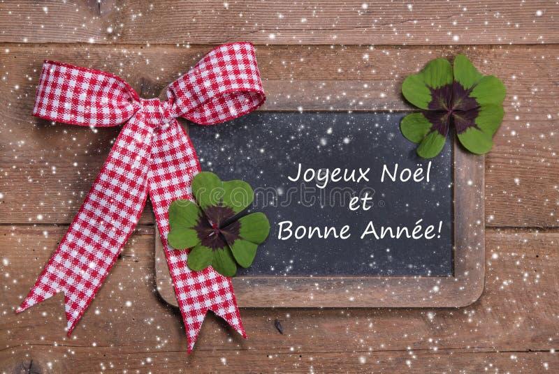 Χριστούγεννα και καλή χρονιά στις γαλλικές λέξεις στοκ φωτογραφίες με δικαίωμα ελεύθερης χρήσης