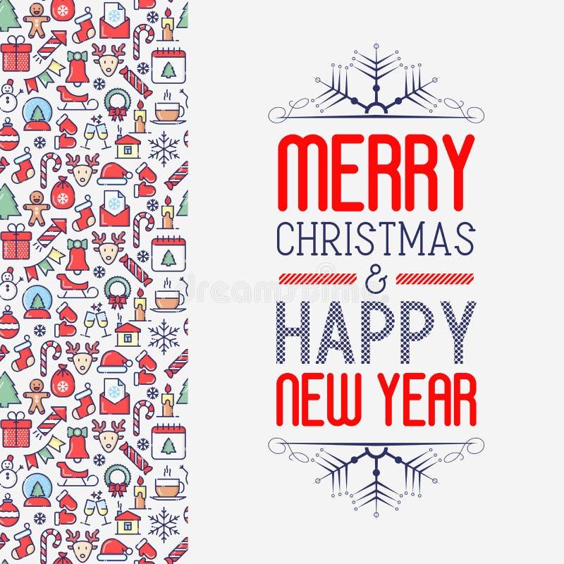 Χριστούγεννα και νέα έννοια ευχετήριων καρτών έτους απεικόνιση αποθεμάτων