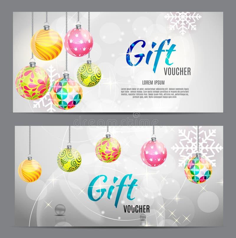 Χριστούγεννα και νέα απόδειξη δώρων έτους, πρότυπο VE δελτίων έκπτωσης ελεύθερη απεικόνιση δικαιώματος