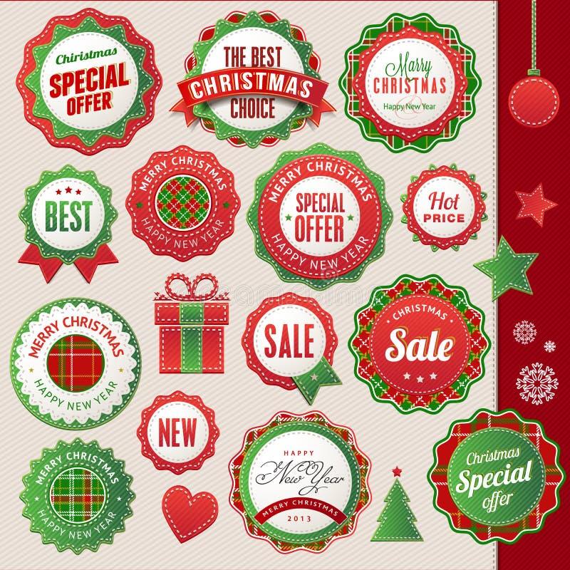 Χριστούγεννα και νέα διακριτικά και στοιχεία έτους ελεύθερη απεικόνιση δικαιώματος