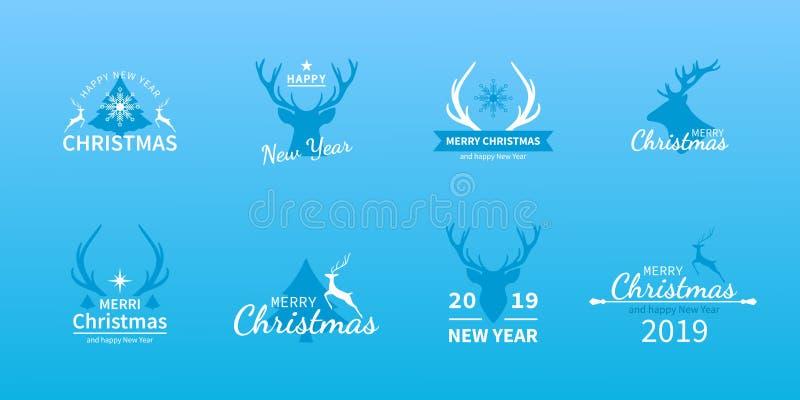 Χριστούγεννα και νέα ελάφια έτους Σύνολο λογότυπου διακοπών, εμβλήματα, σημάδια διανυσματική απεικόνιση
