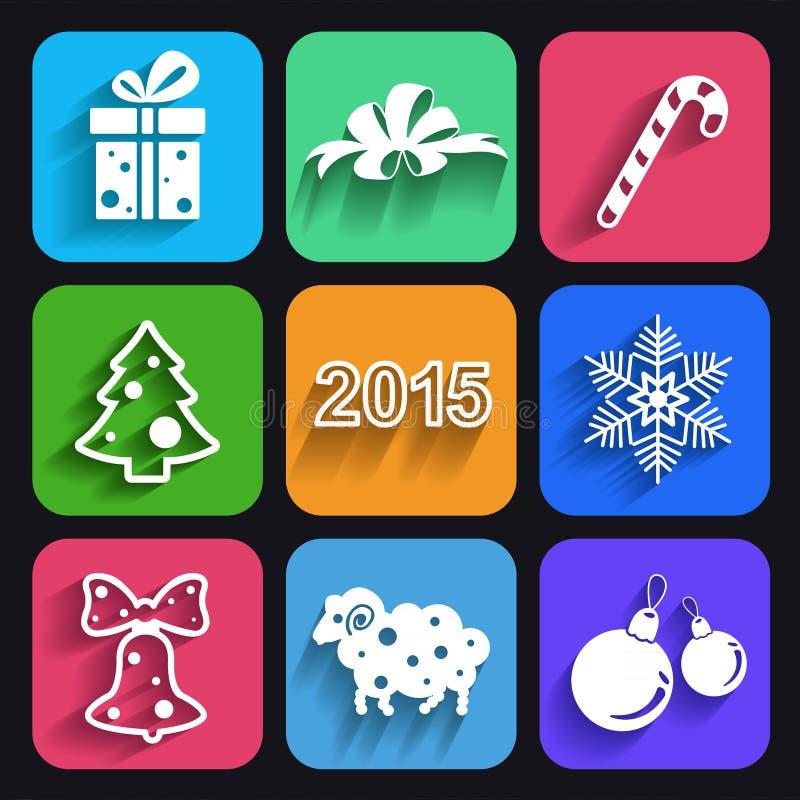 Χριστούγεννα και νέα επίπεδα εικονίδια έτους με τις μακριές σκιές απεικόνιση αποθεμάτων