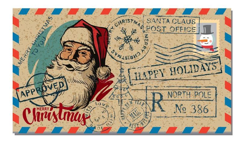 Χριστούγεννα και νέα επιθυμία καρτών έτους απεικόνιση αποθεμάτων