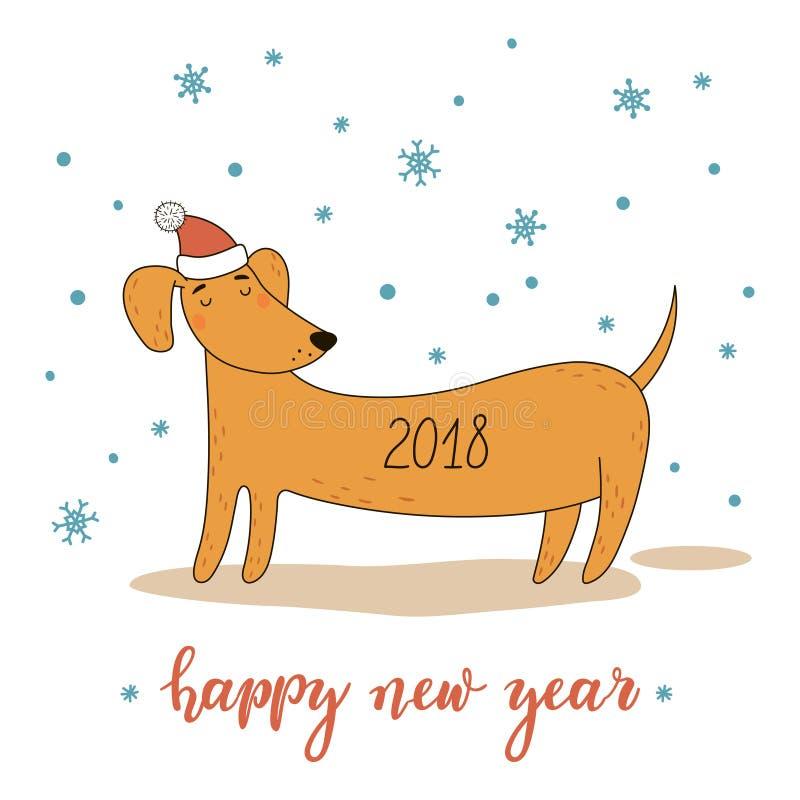 Χριστούγεννα και νέα ευχετήρια κάρτα έτους με τα χαριτωμένα κινούμενα σχέδια dachshund επίσης corel σύρετε το διάνυσμα απεικόνιση διανυσματική απεικόνιση