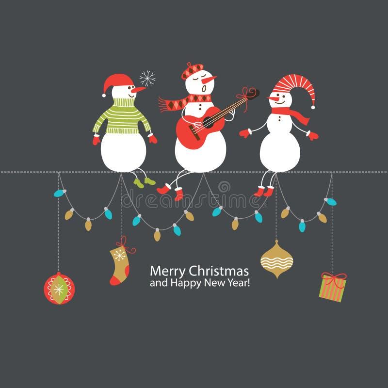 Χριστούγεννα και νέα ευχετήρια κάρτα έτους απεικόνιση αποθεμάτων
