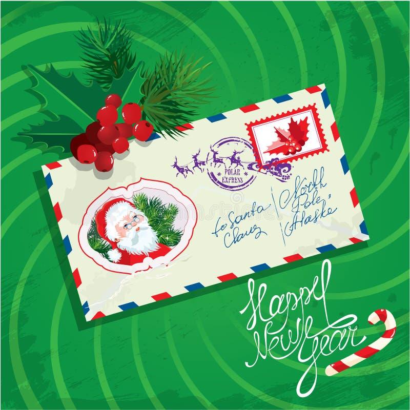 Χριστούγεννα και νέα κάρτα έτους με το φάκελο, christm απεικόνιση αποθεμάτων