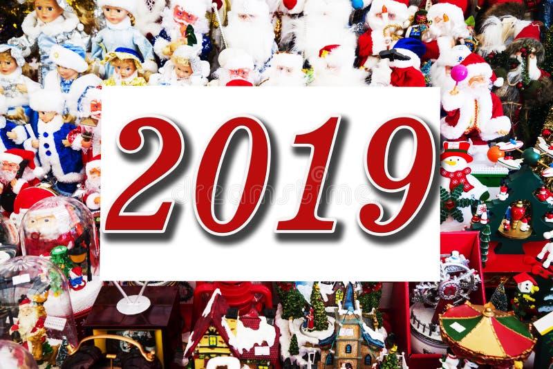 2019 Χριστούγεννα και νέα παιχνίδια Χριστουγέννων εννοιών έτους διαφορετικά, Santas, χριστουγεννιάτικα δέντρα χιονανθρώπων διανυσματική απεικόνιση