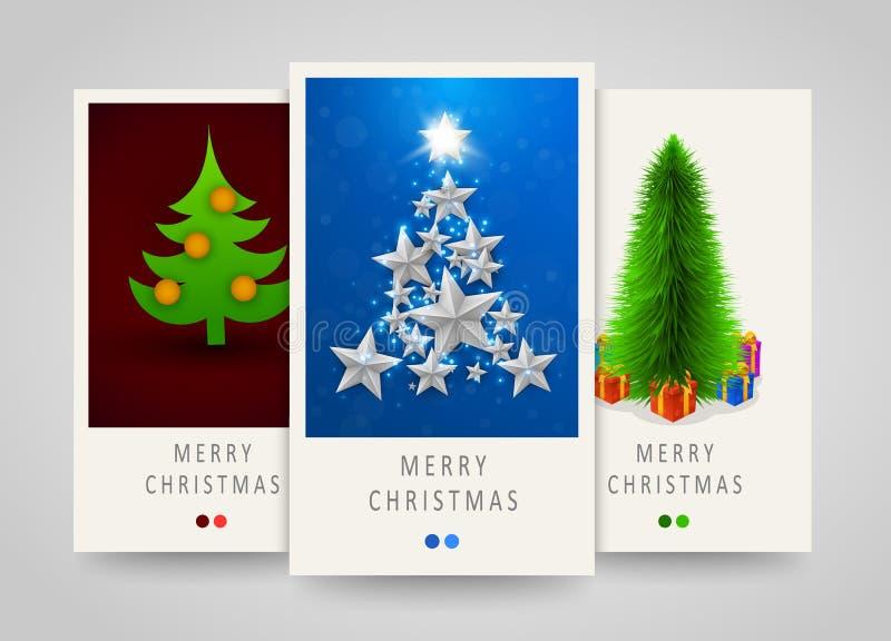 Χριστούγεννα και νέα σύγχρονα κάθετα εμβλήματα ετών με το χριστουγεννιάτικο δέντρο Διακόσμηση για τα εισιτήρια κομμάτων διανυσματική απεικόνιση