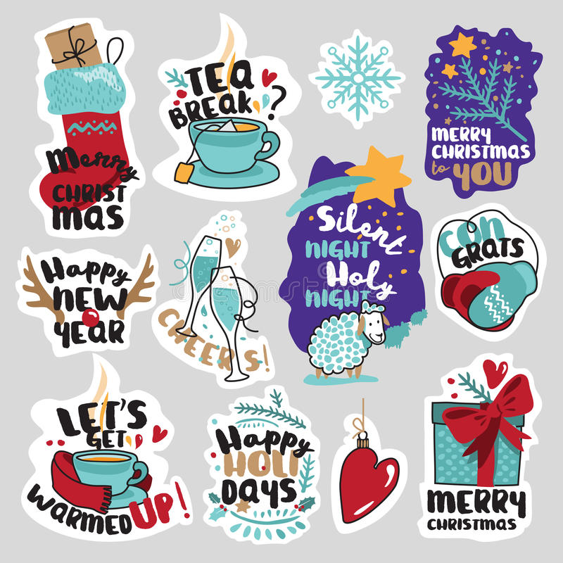 Χριστούγεννα και νέες αυτοκόλλητες ετικέττες μέσων έτους κοινωνικές καθορισμένα ελεύθερη απεικόνιση δικαιώματος