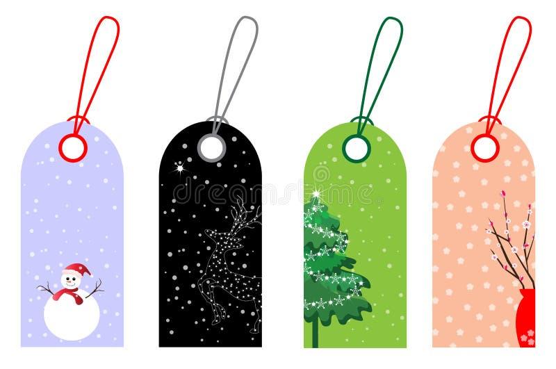 Χριστούγεννα και νέες ετικέττες έτους ελεύθερη απεικόνιση δικαιώματος