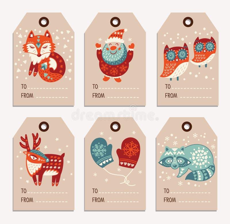 Χριστούγεννα και νέες ετικέττες δώρων έτους, αυτοκόλλητες ετικέττες, ετικέτες απεικόνιση αποθεμάτων