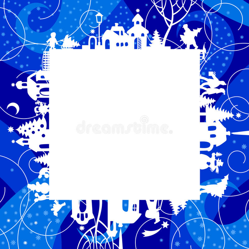 Χριστούγεννα και νέες πλαίσιο έτους ` s και κάρτα χαιρετισμών με το silhouett διανυσματική απεικόνιση