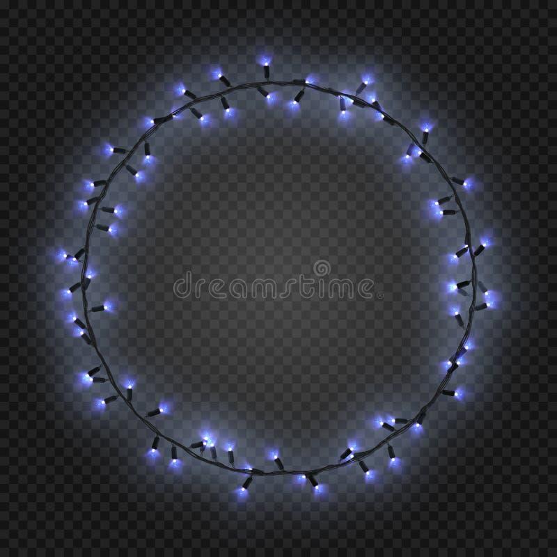 Χριστούγεννα και νέες ρεαλιστικές ελαφριές γιρλάντες έτους όπως το πλαίσιο σε ένα διαφανές υπόβαθρο, διάνυσμα διανυσματική απεικόνιση