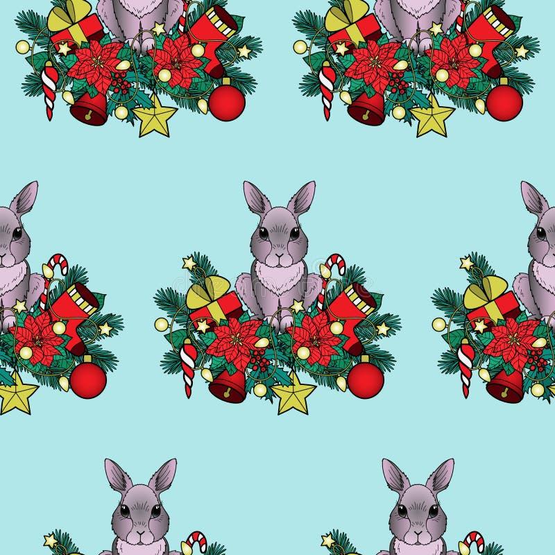 Χριστούγεννα και νέο άνευ ραφής σχέδιο έτους με το κουνέλι διανυσματική απεικόνιση