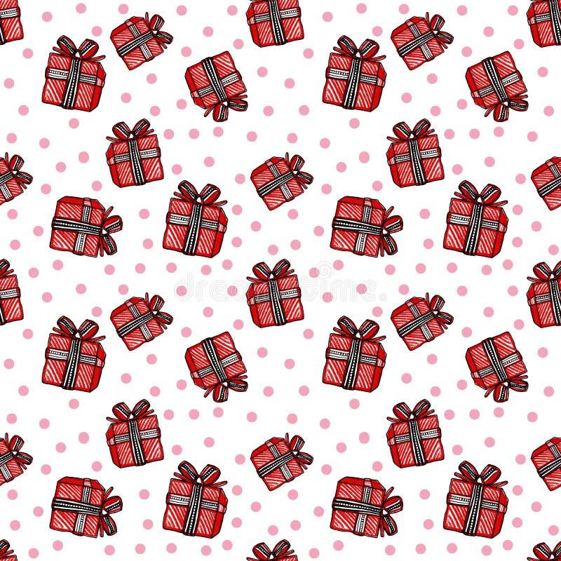 Χριστούγεννα και νέο άνευ ραφής σχέδιο έτους με το κόκκινο κιβώτιο δώρων και ρόδινοι κύκλοι στο άσπρο υπόβαθρο ελεύθερη απεικόνιση δικαιώματος