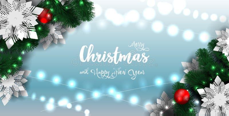 Χριστούγεννα και νέο έμβλημα έτους 2019, λαμπιρίζοντας γιρλάντα φω'των Χριστουγέννων με το χριστουγεννιάτικο δέντρο απεικόνιση αποθεμάτων