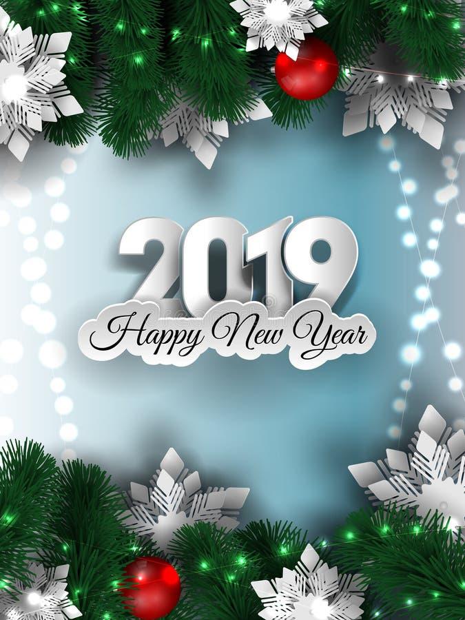 Χριστούγεννα και νέο έμβλημα έτους 2019, λαμπιρίζοντας γιρλάντα φω'των Χριστουγέννων με το χριστουγεννιάτικο δέντρο διανυσματική απεικόνιση
