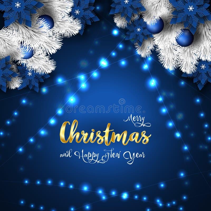 Χριστούγεννα και νέο έμβλημα έτους 2019, λαμπιρίζοντας μαγική γιρλάντα φω'των Χριστουγέννων απεικόνιση αποθεμάτων
