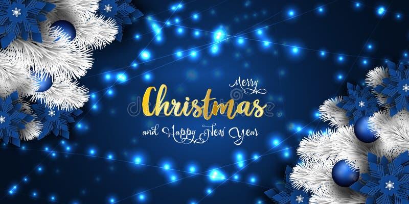 Χριστούγεννα και νέο έμβλημα έτους 2019, λαμπιρίζοντας μαγική γιρλάντα φω'των Χριστουγέννων ελεύθερη απεικόνιση δικαιώματος