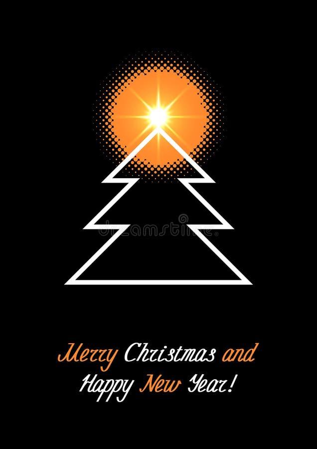 Χριστούγεννα και νέο έμβλημα έτους με το εικονίδιο γραμμών του δέντρου έλατου απεικόνιση αποθεμάτων