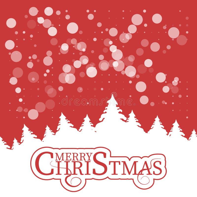 Χριστούγεννα και νέο έτος τυπογραφικά στο λαμπρό υπόβαθρο Χριστουγέννων με το χειμερινό τοπίο με snowflakes, φως, αστέρια Χριστού διανυσματική απεικόνιση
