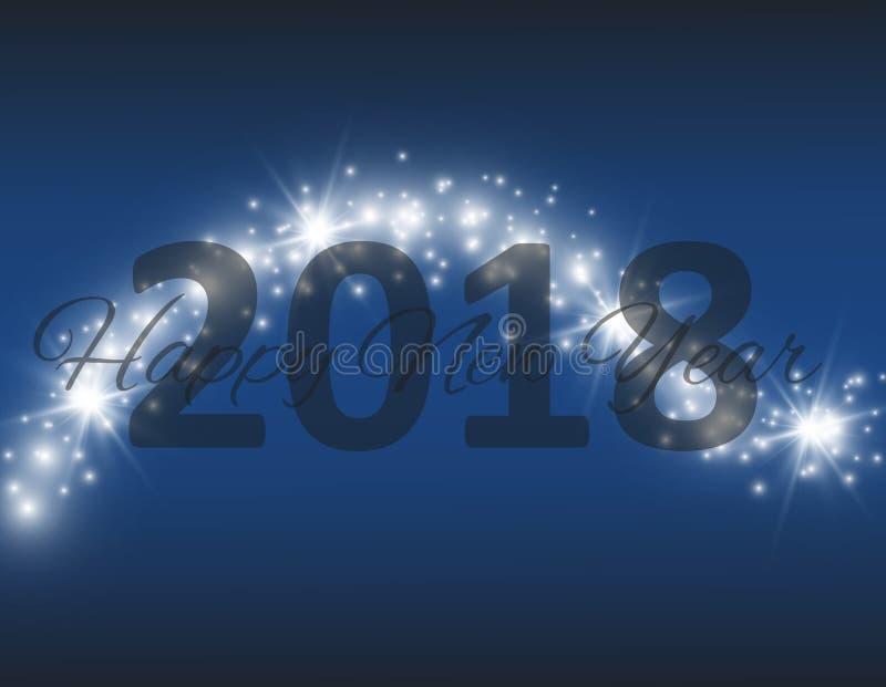 Χριστούγεννα και νέο έτος 2018 τυπογραφικό στο λαμπρό υπόβαθρο Χριστουγέννων με snowflakes, φως, αστέρια διάνυσμα διανυσματικά Χρ ελεύθερη απεικόνιση δικαιώματος
