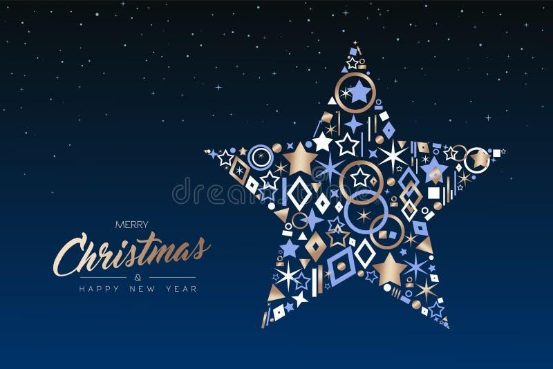 Χριστούγεννα και νέο αστέρι έτους φιαγμένα από εικονίδια χαλκού απεικόνιση αποθεμάτων
