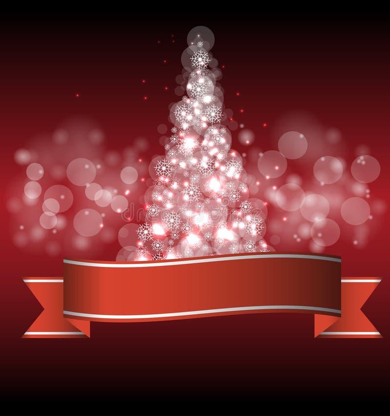Χριστούγεννα και νέο δέντρο έτους με τα φω'τα απεικόνιση αποθεμάτων