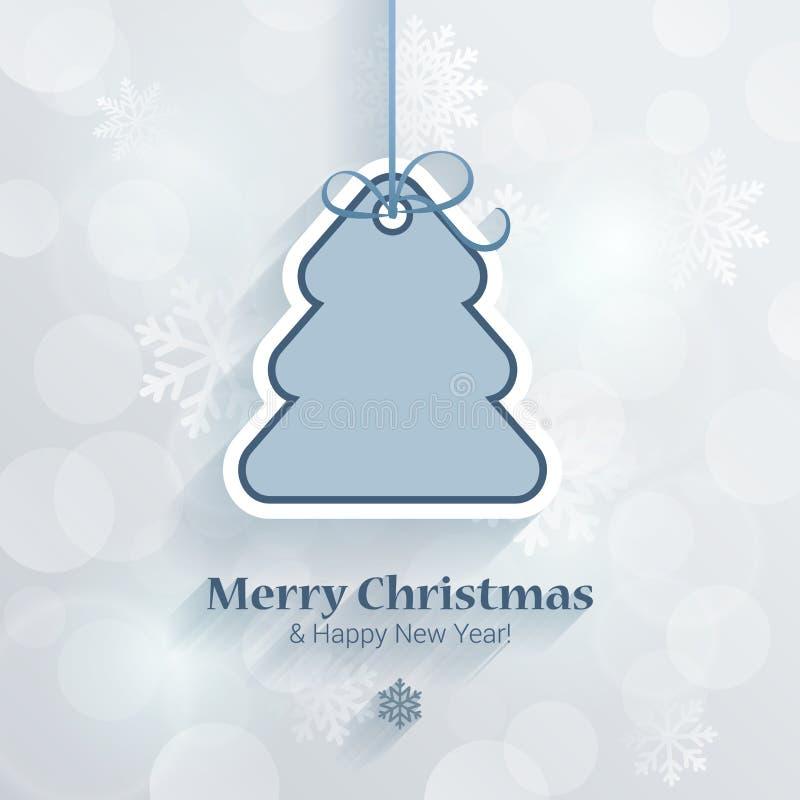 Χριστούγεννα και νέο διάνυσμα προτύπων καρτών ύφους αυτοκόλλητων ετικεττών έτους διανυσματική απεικόνιση