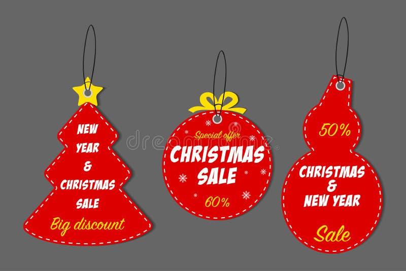 Χριστούγεννα και νέο σύνολο ετικεττών πώλησης έτους Πρότυπο για τις ετικέτες έκπτωσης Χριστουγέννων διακοπών διάνυσμα διανυσματική απεικόνιση