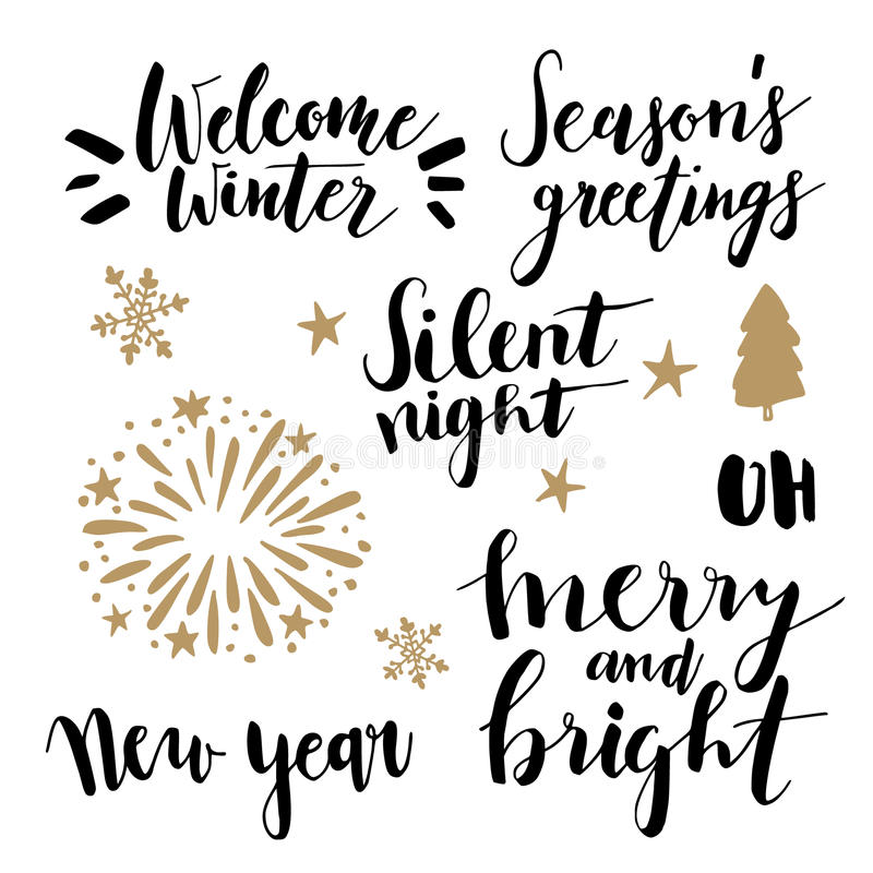 Χριστούγεννα και νέο σύνολο εγγραφής έτους Το χέρι έγραψε τα αποσπάσματα για τις ευχετήριες κάρτες, ετικέττες δώρων Συλλογή τυπογ ελεύθερη απεικόνιση δικαιώματος