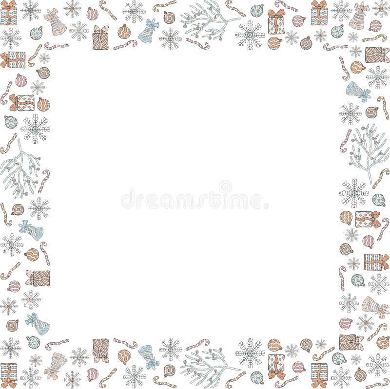 Χριστούγεννα και τετραγωνικό πλαίσιο Χριστουγέννων φιαγμένο από doodles Snowflakes, δώρα, κουδούνια, κάλαμοι καραμελών, σφαίρες Χ ελεύθερη απεικόνιση δικαιώματος
