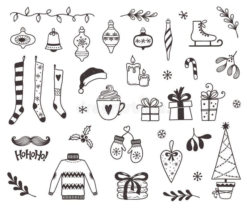 Χριστούγεννα και χειμώνας doodles απεικόνιση αποθεμάτων