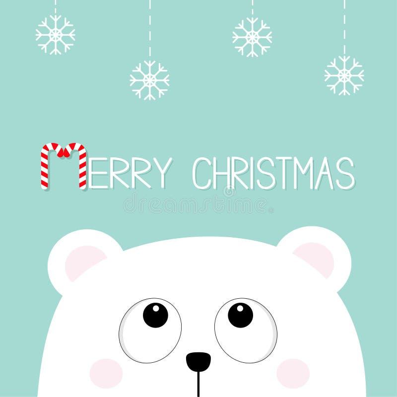 Χριστούγεννα καλάμων καρ&a Πολικός άσπρος λίγα μικρά αντέχει cub το επικεφαλής πρόσωπο ανατρέχοντας στην ένωση της νιφάδας χιονιο διανυσματική απεικόνιση