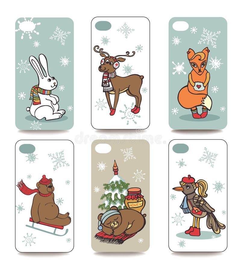 Χριστούγεννα Κινητή τηλεφωνική κάλυψη πίσω σύνολο Χειμώνας απεικόνιση αποθεμάτων