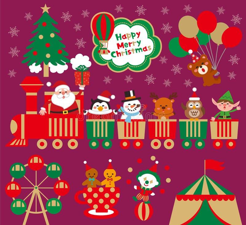 Χριστούγεννα με το λούνα παρκ Αστείος Άγιος Βασίλης με τα ζώα σε ένα τραίνο παιχνιδιών διανυσματική απεικόνιση