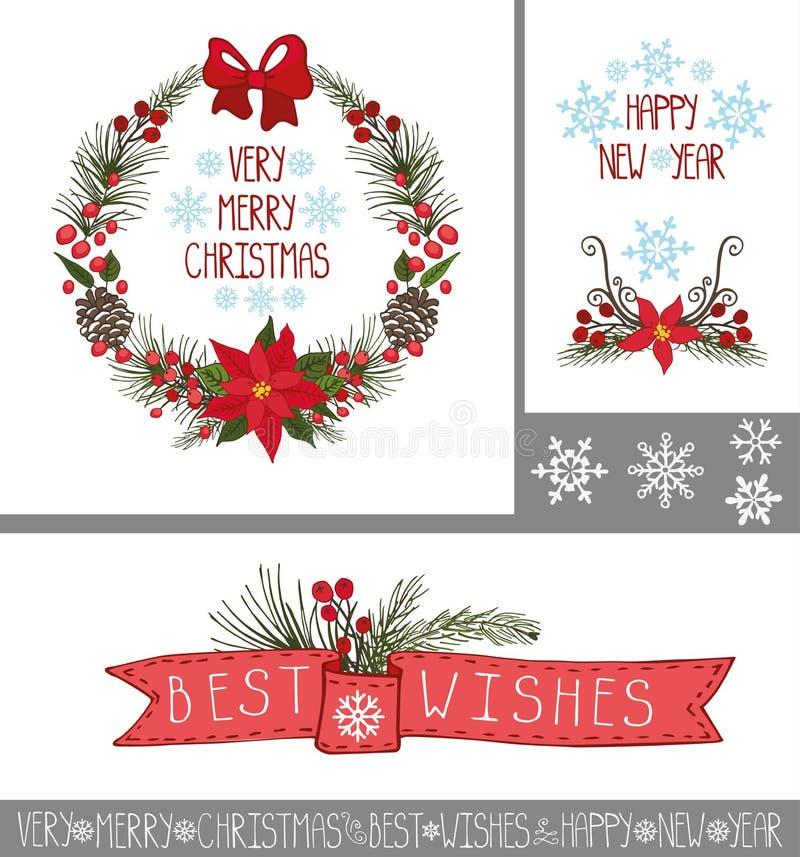 Χριστούγεννα, νέες ευχετήριες κάρτες έτους, εμβλήματα, ντεκόρ ελεύθερη απεικόνιση δικαιώματος