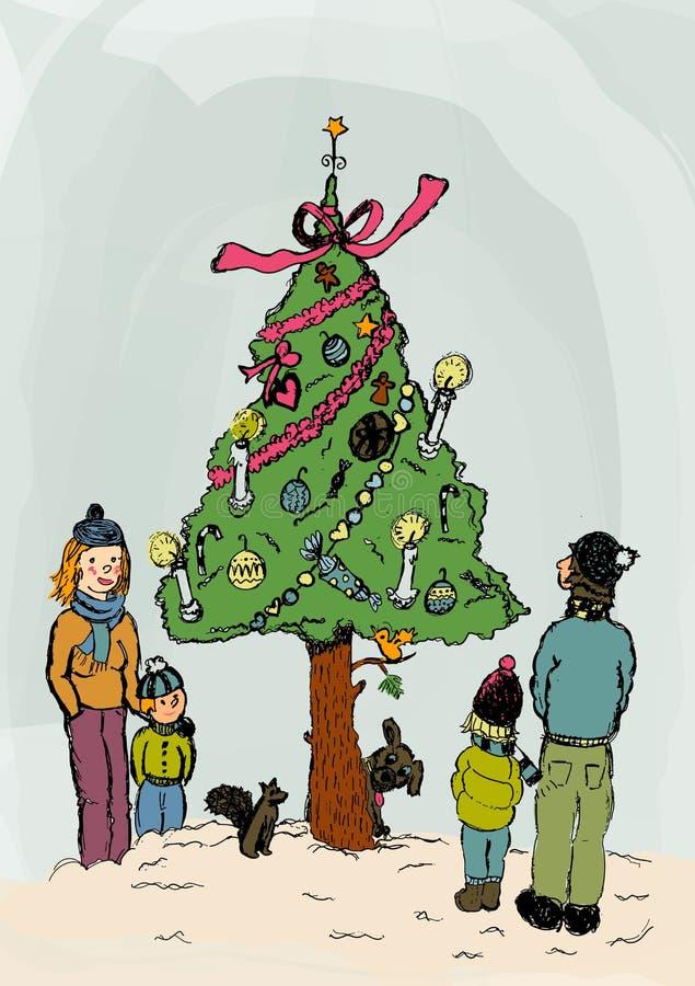 Χριστούγεννα οικογενειακού εορτασμού έξω στοκ εικόνες με δικαίωμα ελεύθερης χρήσης