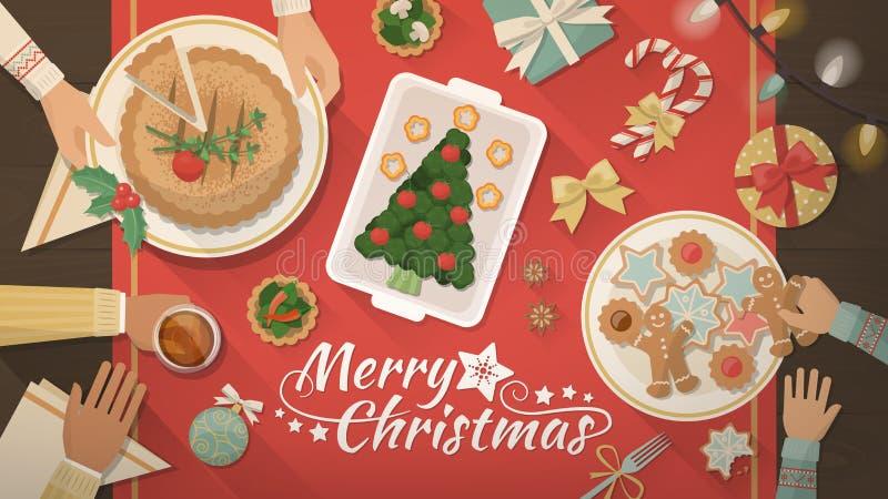 Χριστούγεννα οικογενειακού εορτασμού στο σπίτι απεικόνιση αποθεμάτων