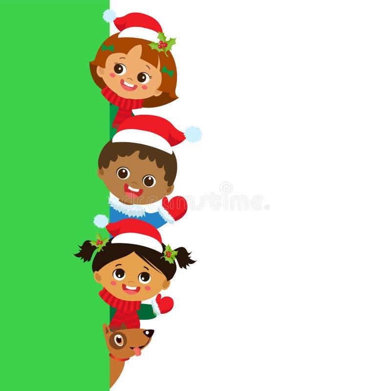 Χριστούγεννα παιδιών και χαιρετισμού και νέο έμβλημα έτους, πολυπολιτισμικά παιδιά στους χαρακτήρες κοστουμιών Χριστουγέννων διανυσματική απεικόνιση